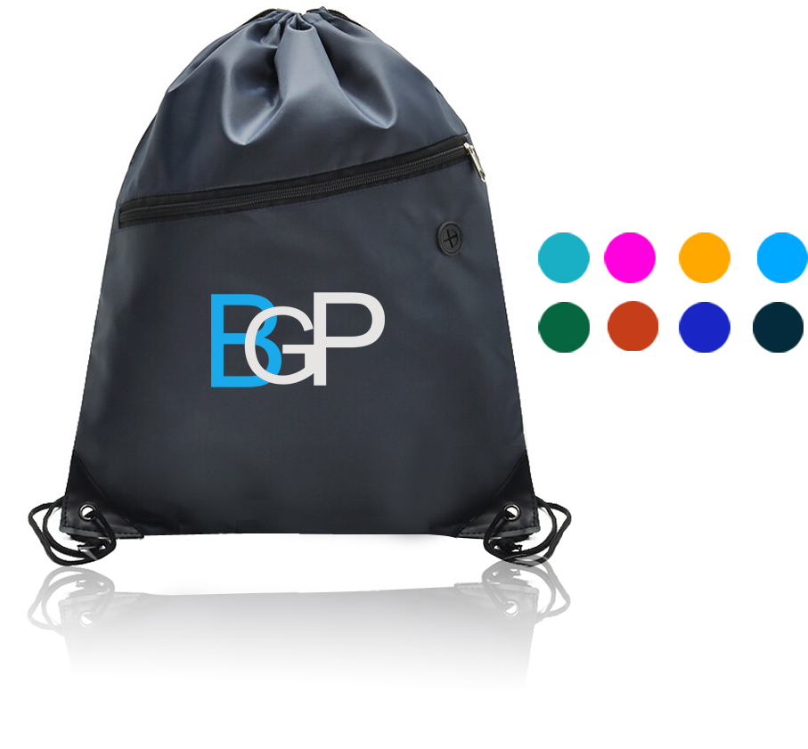 14 x 17 Inch Drawstring Backpack With Zippered Pocket And Earbud Hole