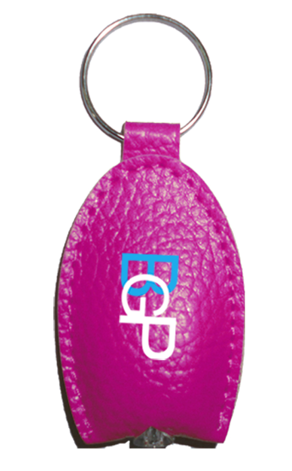 Custom Promotional PU Leather LED Light Keychain Key Ring Key Tags