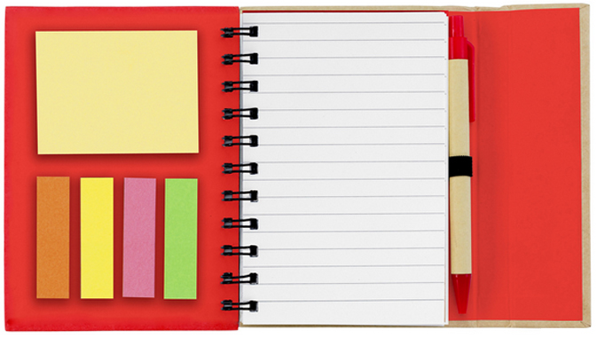 Spiral Notebook With Sticky Notes Flags And Paper Pen