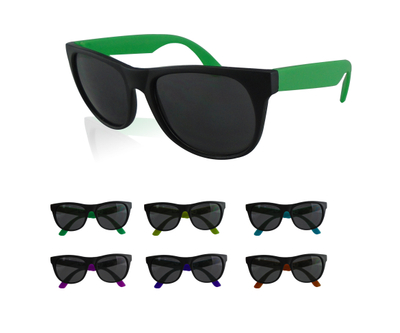 Custom Logoed Imprinted Two-Tone Outdoor Plastic Neon Sunglasses