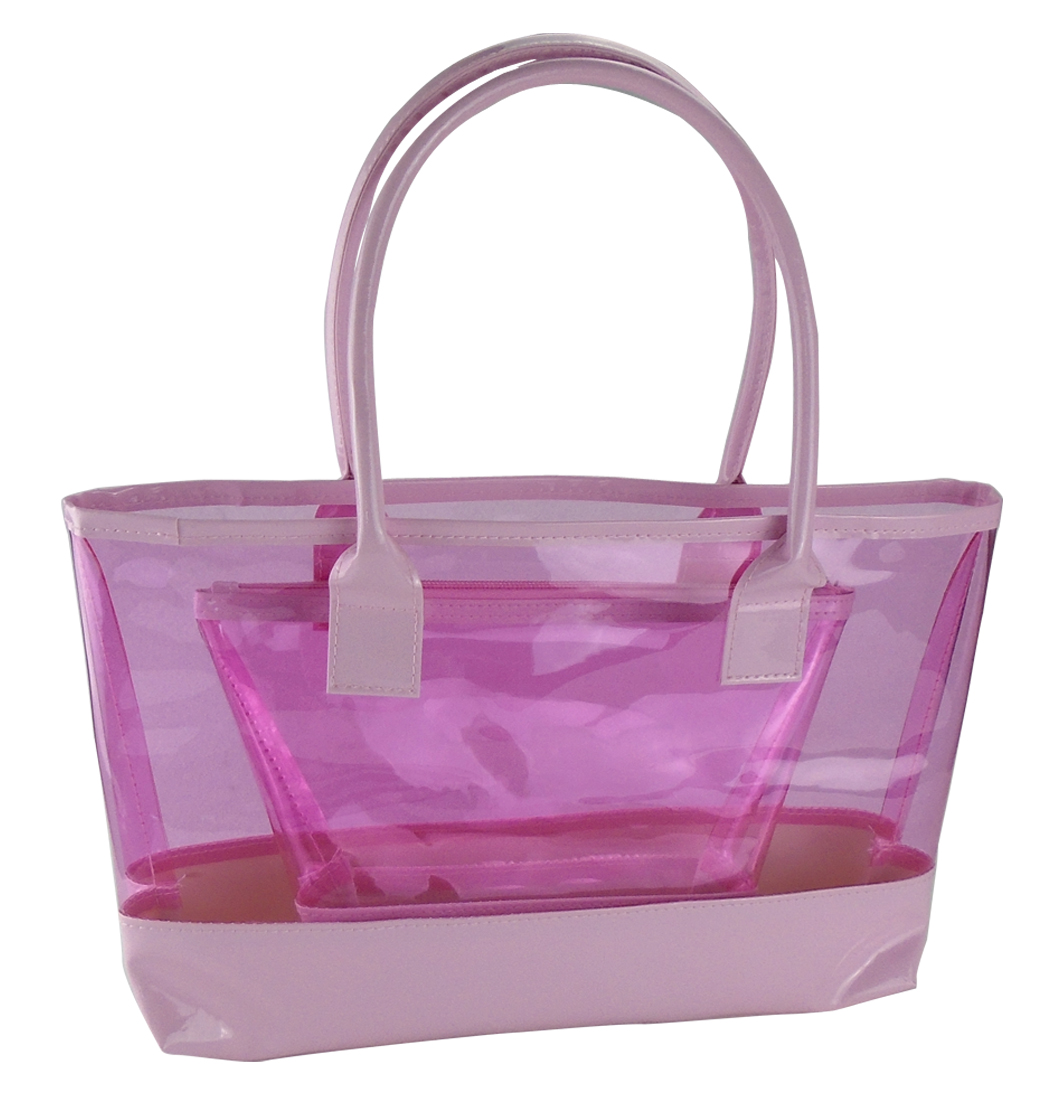 "Clear Comestic Travel Beach Bag Sets-14 "" x 12 "" x 9 1/4 "" and 10 "" x 6 "" x 7 """