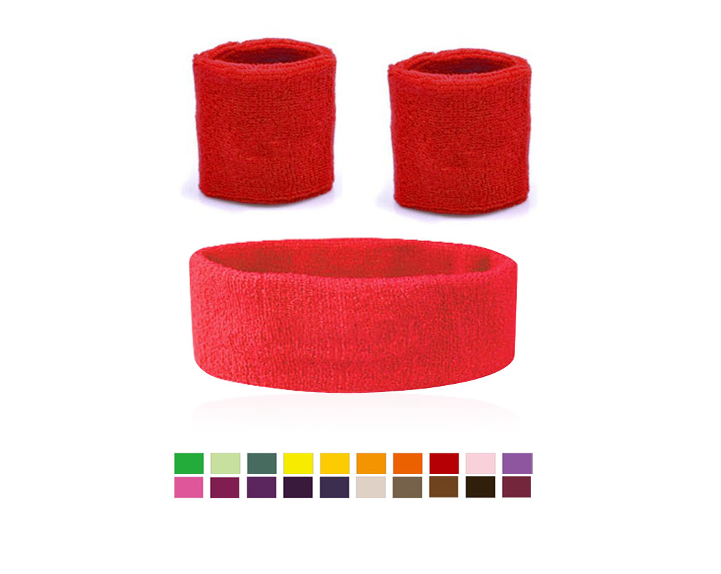 Cotton Custom Logo Sports Wristband & Headband Set